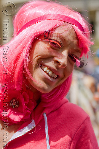 all in pink, bay to breakers, costume, eyelashes extensions, footrace, pink eyelashes, pink wig, street party, woman