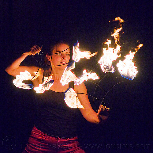 ally with fire fans, ally, fire dancer, fire dancing, fire fans, fire performer, fire spinning, night, woman