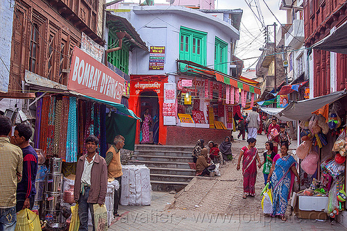 almora bazar - street market in almora (india), houses, people
