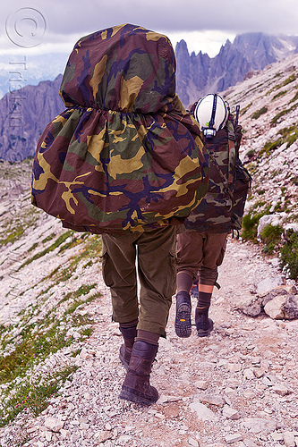 alpini - italian elite mountain infantry, alpines, alpini, alps, army green, battledress, boots, camouflage, climbing helmet, dolomites, fatigues, heavy backpacks, hiking, italian army, khaki, men, military, mountain infantry, mountain troops, mountains, parco naturale dolomiti di sesto, soldiers, trail, training, uniform, walking