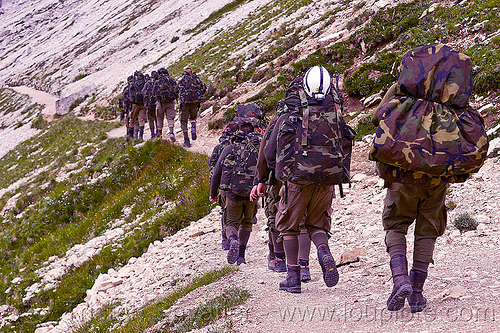 alpini - italian elite mountain troops, alpines, alpini, alps, army green, battledress, boots, camouflage, climbing helmet, dolomites, fatigues, heavy backpacks, hiking, italian army, khaki, men, military, mountain infantry, mountain troops, mountains, parco naturale dolomiti di sesto, soldiers, trail, training, uniform, walking