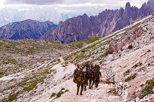 alpini - italian infantry soldiers training in the alps, alpines, alpini, alps, army green, battledress, boots, camouflage, dolomites, fatigues, heavy backpacks, hiking, italian army, khaki, men, military, mountain infantry, mountain troops, mountains, parco naturale dolomiti di sesto, soldiers, trail, training, uniform, walking