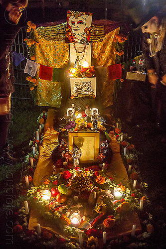 altar de muerto for the sisters of perpetual indulgence, altar de muertos, candles, day of the dead, dia de los muertos, halloween, memorial, night, sisters of perpetual indulgence