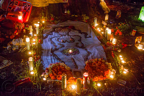 altar de muerto for a woman - dia de los muertos, altar de muertos, candles, day of the dead, dia de los muertos, drawing, halloween, memorial, night, pebbles, woman