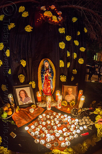 altar de muerto with virgen de guadalupe - dia de los muertos (san francisco), altar de muertos, candles, day of the dead, dia de los muertos, halloween, memorial, night, our lady of guadalupe, virgen de guadalupe