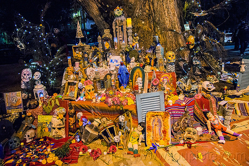 altar de muertos - dia de los muertos, day of the dead, decorated skulls, halloween, mementos, night, sugar skulls