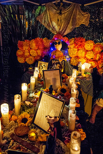 altar de muertos - sisters of perpetual indulgence - dia de los muertos (san francisco), altar de muertos, candle light, day of the dead, dia de los muertos, glass candles, halloween, marigold flowers, mementos, night, sisters of perpetual indulgence