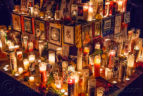 altar de muertos with glass candles - dia de los muertos, altar de muertos, day of the dead, dia de los muertos, frames, glass candles, halloween, mementos, night