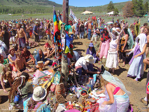 altar - rainbow gathering - hippie, crowd, people, rainbow family