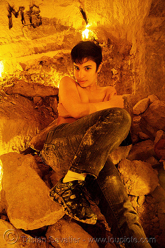 alyssa - catacombes de paris - catacombs of paris (off-limit area), candles, cataphile, cave, clandestines, illegal, new year's eve, paris, underground quarry, wine, woman