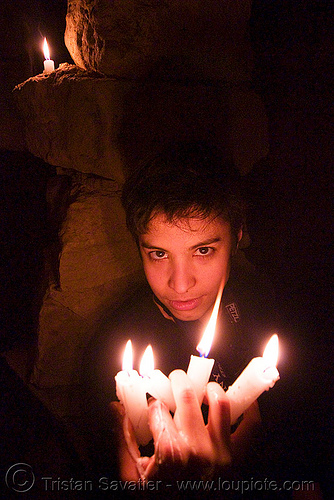 alyssa is the devil - catacombes de paris - catacombs of paris (off-limit area), androgynous, candles, cataphile, cave, fire, flames, low key, new year's eve, new year's eve 2008, people, underground quarry, wax, woman
