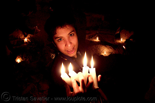 alyssa is the devil - catacombes de paris - catacombs of paris (off-limit area), candles, cataphile, cave, clandestines, fire, illegal, low key, new year's eve, paris, underground quarry, wax, woman