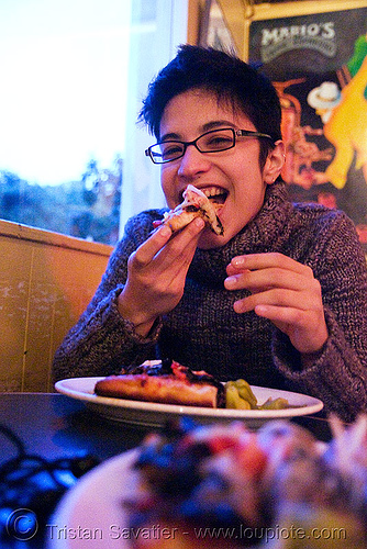 alyssa loves focaccia! (mario's bohemian cigar store cafe, san francisco), alyssa, eating, focaccia, mario's bohemian cigar store cafe, north beach, woman
