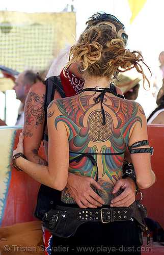 amanda's beautiful tattooed back - burning man 2007, backpiece, center camp, people, tattoos, woman