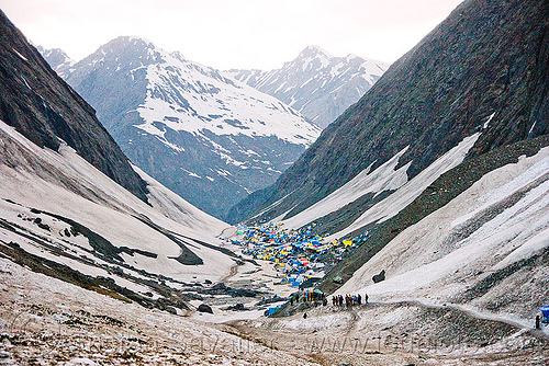 amarnath valley and tent village - amarnath yatra (pilgrimage) - kashmir, amarnath yatra, hiking, hindu pilgrimage, india, kashmir, mountains, pilgrims, snow, trail, trekking, valley