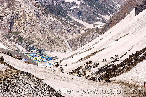 amarnath yatra (pilgrimage) - kashmir, amarnath yatra, encampment, glacier, horses, kashmir, kashmiris, mountain trail, mountains, pilgrimage, pilgrims, ponies, pony station, snow, tents, trekking, valley, yatris, अमरनाथ गुफा