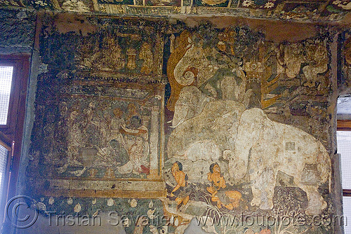 ancient buddhist paintings - ajanta caves (india), buddhism, cave, painting, rock-cut