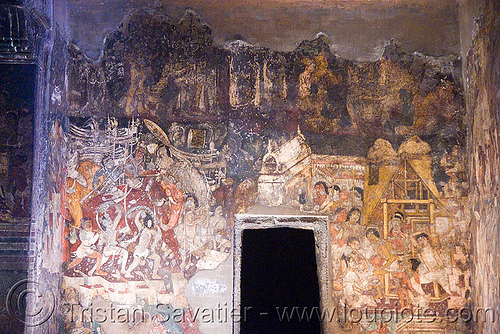 ancient buddhist paintings - ajanta caves - ancient buddhist temples (india), ajanta caves, buddhism, cave, india, painting, rock-cut