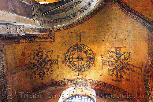 ancient crosses images percolating through the plaster - aya sofya (istanbul), architecture, aya sofya, byzantine, church, cross, crosses, hagia sophia, inside, interior, islam, mosque, orthodox christian, painting, percolating, religion