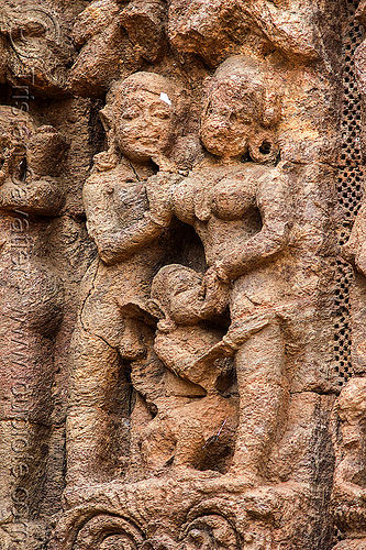 ancient erotic sculpture at the konark sun temple (india), carving, erotic sculptures, high-relief, hindu temple, hinduism, maithuna, stone