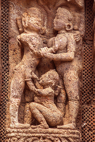 ancient hindu erotic sculpture - konark sun temple (india), carving, erotic sculptures, high-relief, hindu temple, hinduism, konark sun temple, maithuna, stone