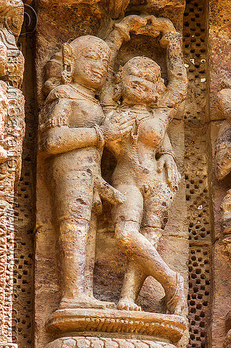 ancient hindu erotic stone carving - konark sun temple (india), carving, erotic sculptures, high-relief, hindu temple, hinduism, konark sun temple, maithuna, stone