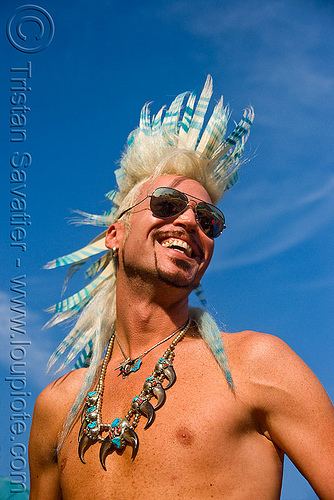 andrew marlin with feather-like mohawk - folsom street fair 2009 (san francisco), andrew marlin, claws, fair folsom, folsom street fair, hair extensionset, man, mohawk hair, necklace, street folsom, sunglasses, white