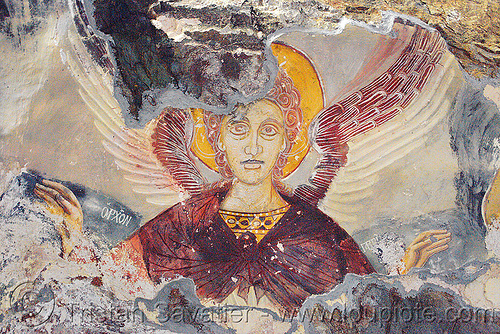 angel - byzantine fresco - Sümela monastery (turkey), angel, byzantine art, frescoes, orthodox christian, painting, sacred art, sumela, sümela monastery, trabzon