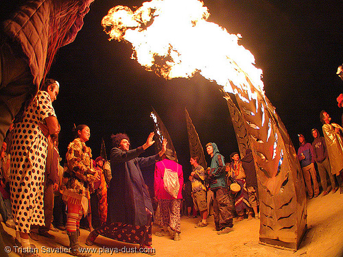 angel of the apocalypse by flaming lotus girls - burning-man 2005, angel of the apocalypse, art installation, burning man, fire, fisheye, flames, flaming lotus girls, night