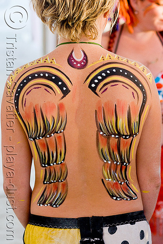 angel wings bodypainting, angel wings, body paint, body painting, burning man, center camp, gabrielle, woman