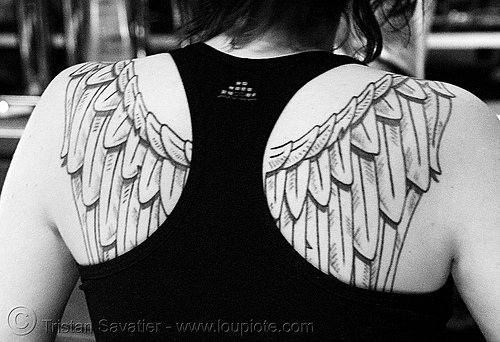 angel wings tattoos designs,key tattoo designs