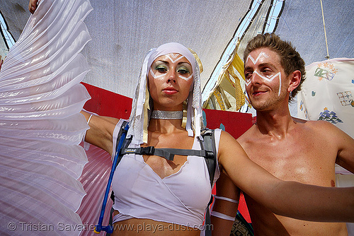 angelfire / hoopcharmer - burning man 2007, center camp, couple, people, unifier, woman