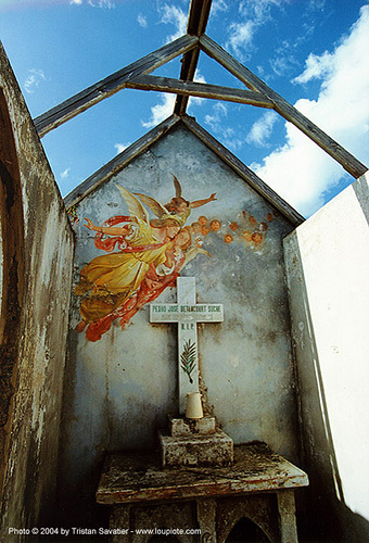 angels fresco in abandoned chapel - santo domingo cemetery, altar, angel wings, angels, cemetery, chapel, cross, dominican republic, frescoes, grave, graveyard, mural, painting, ruins, santo domingo, tomb, trespassing