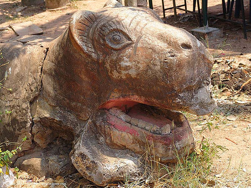 animal figure near temple - thailand, head, sculpture, ประเทศไทย