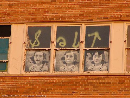 anne frank posters in window, abandoned building, abandoned hospital, ann frank, anne frank, graffiti, presidio hospital, presidio landmark apartments, salt, trespassing, window