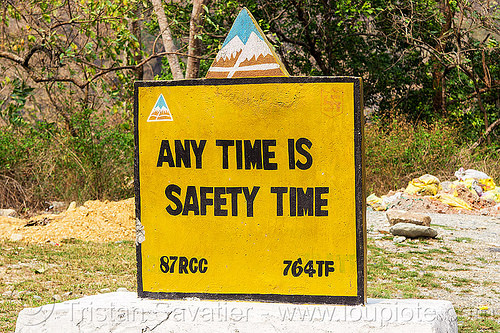 any time is safety time - BRO road sign (india), border roads organisation, bro, road marker, road sign, safety, swastik project, traffic sign, west bengal