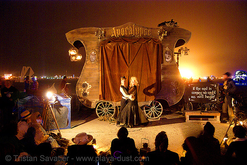 apocalypse stagecoach - burning man 2007, apocalypse stagecoach, apocalypse theater, burning man, night
