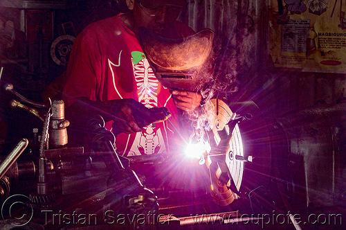 (philippines), arc welding, baguio, machine shop, machine tool, man, mechanical workshop, metal lathe, operator, philippines, welder, worker, working