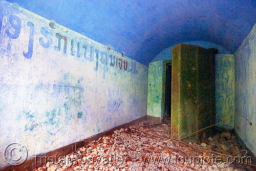 armored door - bunker (laos), armored door, bunker, green, military, rusted, rusty, viang xai, vietnam war
