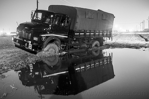 army truck stuck in mud (india), 4x4, all-terrain, army truck, kumbha mela, lorry, maha kumbh mela, military truck, mud, muddy, night, reflection, stuck, tata motors, water