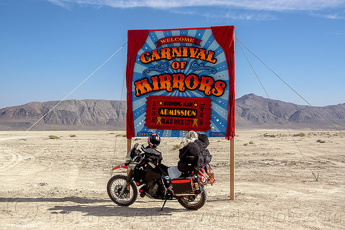 arriving to burning man 2015 by motorbike - KLR 650, admission, black rock city, burning man, carnival of mirrors, dual-sport, duffle bags, entrance, gate, kawasaki, klr 650, luggage, motorcycle touring, panniers, sign