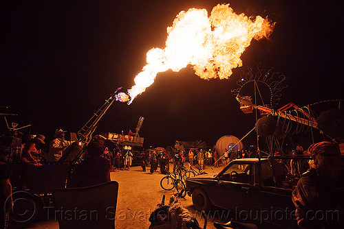 art cars - fire cannon - burning man 2009, art car, burning man, fire cannon, flameall tractor, flames, night, sa, steve atkins
