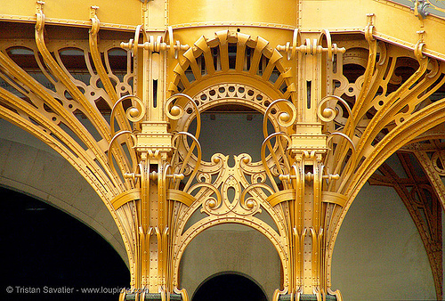 art nouveau ironwork in the grand palais (paris), architecture, art nouveau, grand palais, ironwork, jugendstil, metalwork, paris, wrought