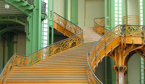 art nouveau stairs - grand palais (paris), architecture, art nouveau, ironwork, jugendstil, metalwork, paris, stairs, wrought