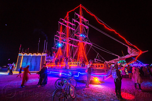 art ship monaco at night - burning man 2015, art car, bicycles, boat, glowing, tall ship