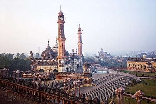 asfi mosque - bara imambara - lucknow (india), architecture, asafi imambara, asfi masjid, asfi mosque, bara imambara, islam, lucknow, minarets, monument, shia shrine, towers