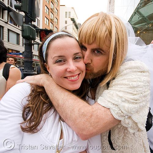 asha and maximum M - brides of march (san francisco), asha, brides of march, drag, festival, man, maximum m, transvestite, wedding, white
