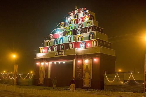 ashram gate at kumbh mela 2013, hindu, hinduism, kumbha mela, maha kumbh mela, night