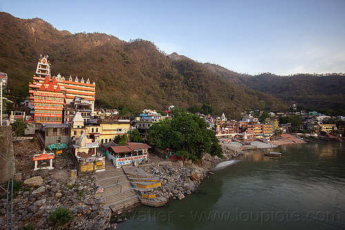 ashrams and ghats on ganges river in rishikesh (india), ashrams, buildings, ganga river, ganges river, ghats, rishikesh, water