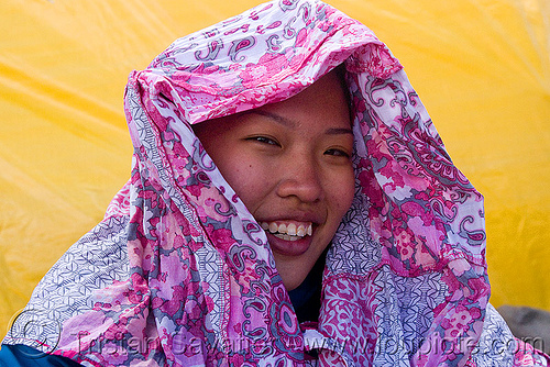 asian girl with pink scarf, asian woman, grace liew, headdress, india, pink scarf